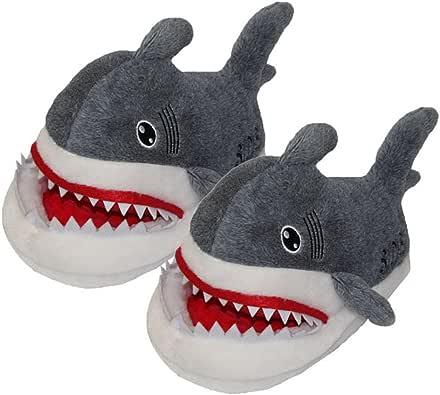 GAMT Warm and Comfortable Velvet Shark Slipper Grey