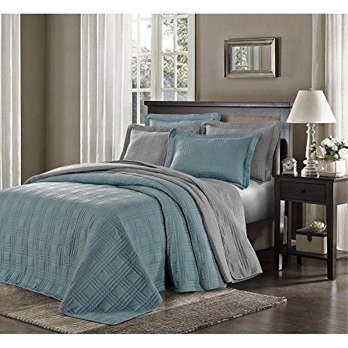 3 Piece Blue Oversized Bedspread King, Geometric Pattern Oversize To The Floor Extra Long Bedding, Wide Drapes Over Edge Drops Down Shabby Chic French Country Checkered Plaid, Cotton by C&U (Image #1)