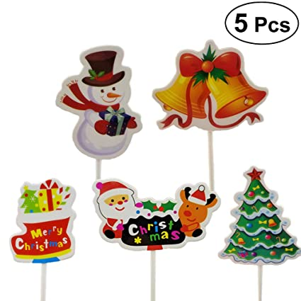 5pcs christmas cake cupcake toppers food fruit picks santa xmas tree sleigh sticks cake decorating party - Christmas Cake Decorations Amazon
