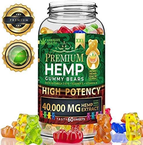 Hemp Gummies Premium 40000 mg XXL High Potency - Fruity Gummy Bear with Hemp Oil   Natural Hemp Candy Supplements for Pain, Anxiety, Stress & Inflammation Relief   Promotes Sleep & Calm Mood