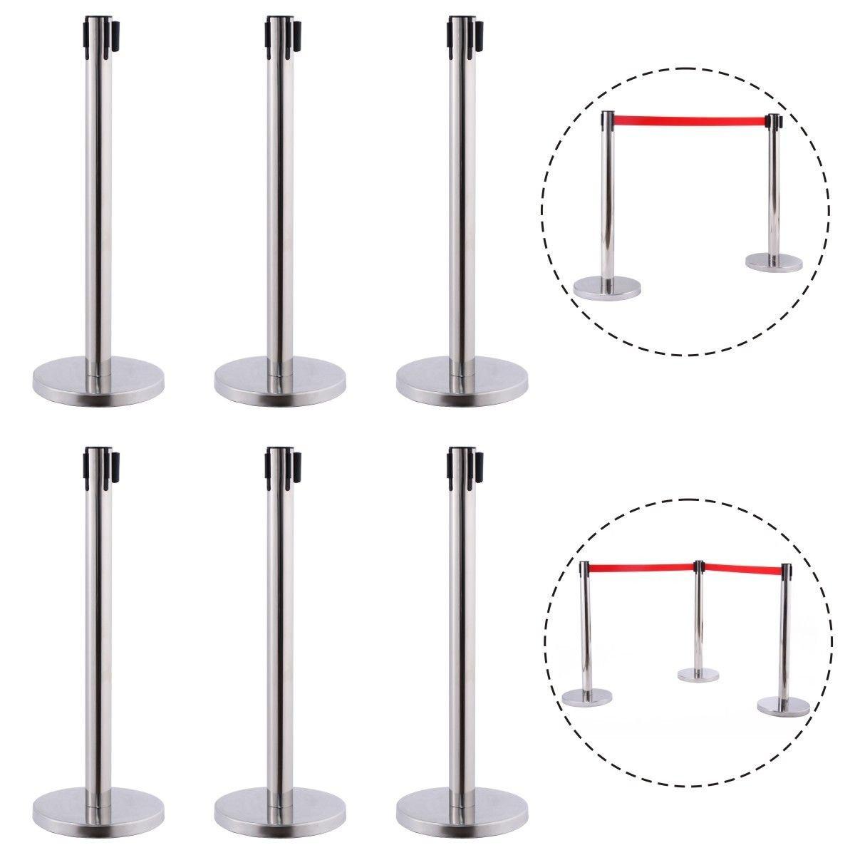 6 Pcs. Belt Retractable Crowd Control Stanchion Barrier Posts Queue Pole, Red by Alek...Shop (Image #3)