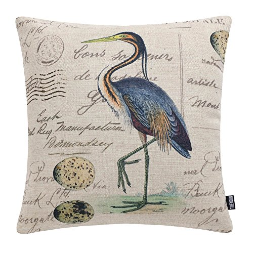 TRENDIN Cotton Linen Decorative Pillow Cover Rustic Cushion Cover for Couch, 18x18 inch(45x45cm), Bird and Egg Design PL217TR (Picture Heron Blue)