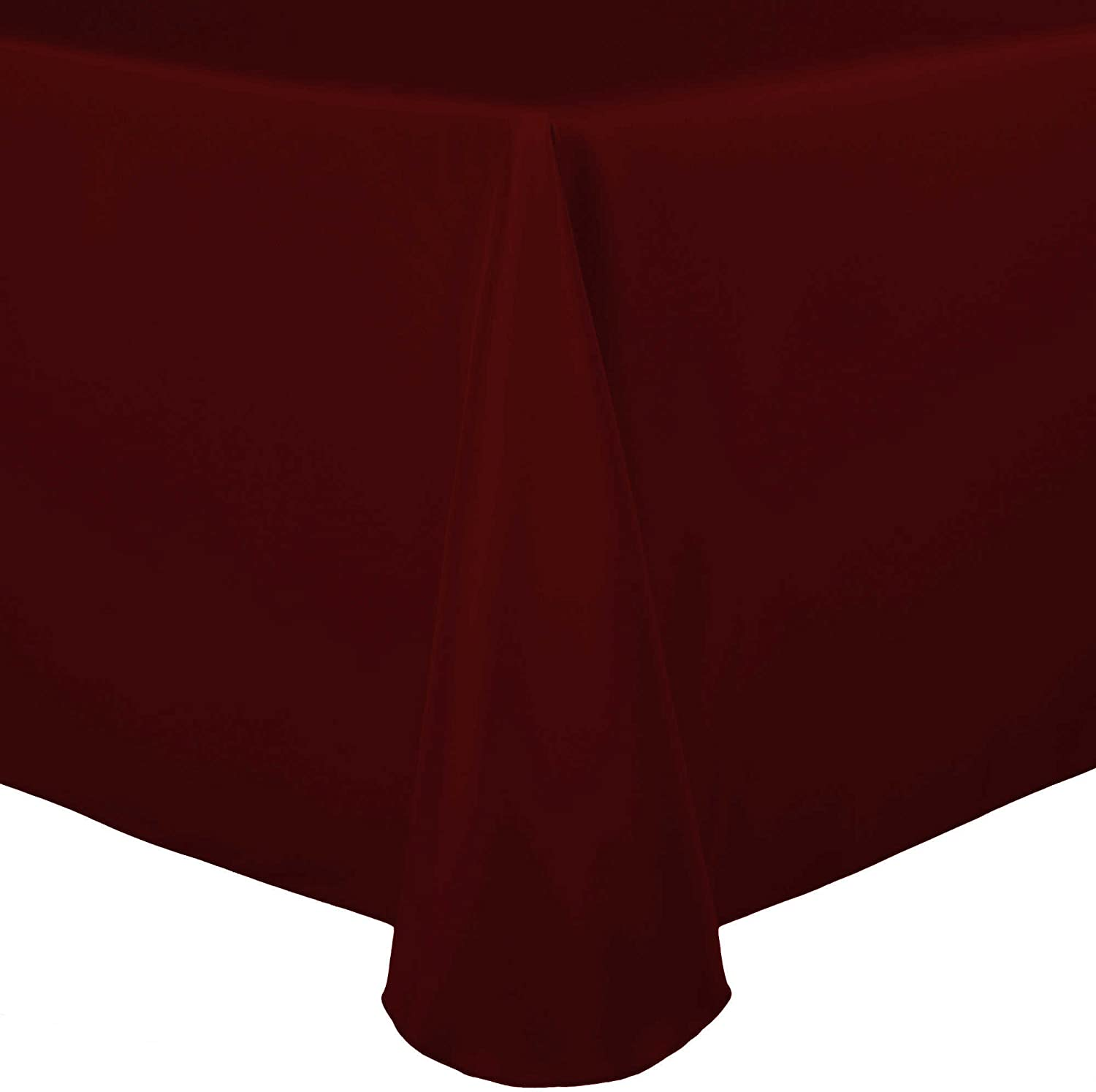 Ultimate Textile 70 x 104-Inch Oval Polyester Linen Tablecloth Burgundy Red