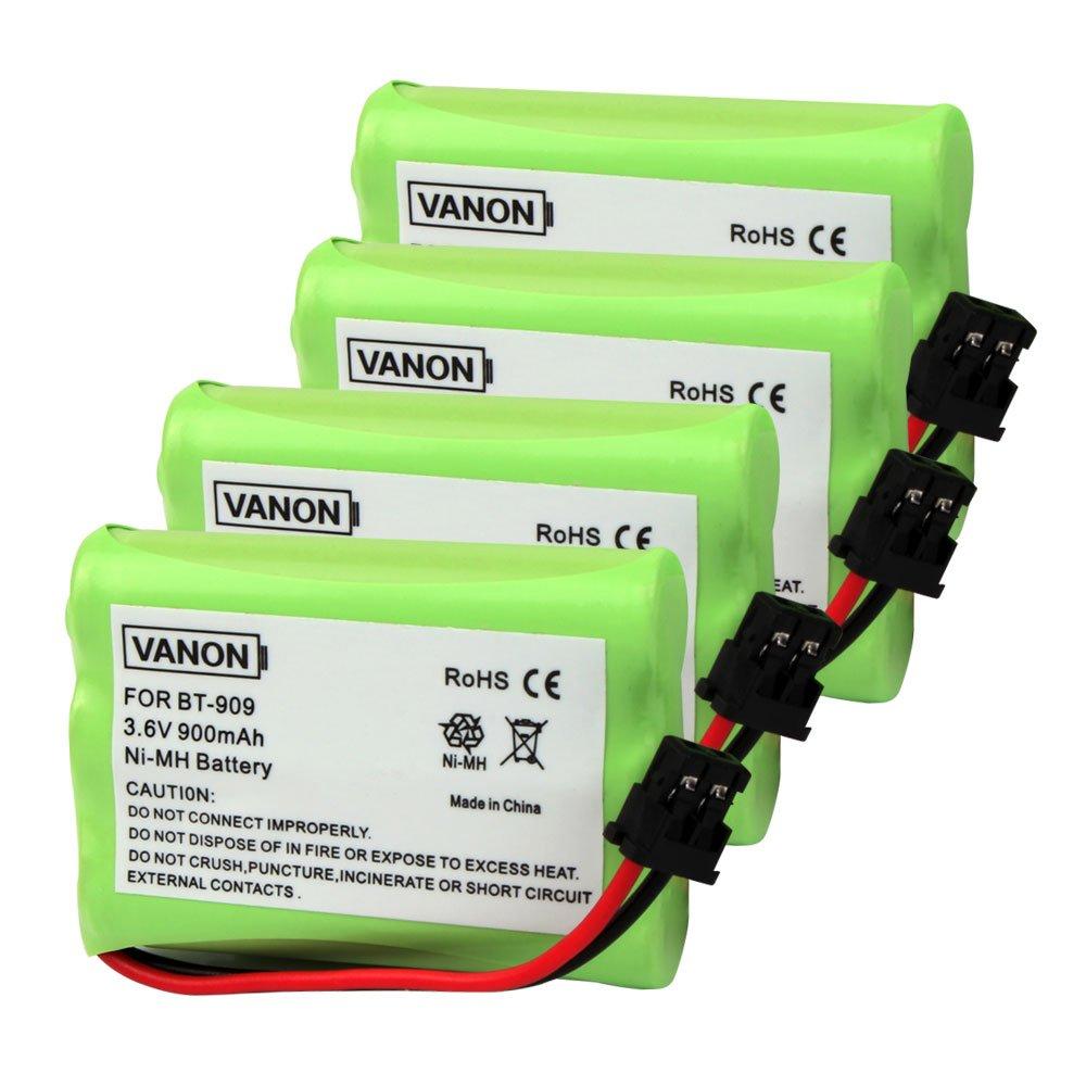 BT-909 Cordless Phone Battery, 3.6V 900mAh Replacement Battery for Uniden BT909 BT1001 BT1004 DECT 1500 DECT 1588-5 TRU-12803 TRU-226 TRU-9260 TRU-9360 Dantona Batt-909 Batt909 Empir (Pack of 4)