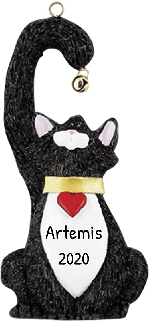 Amazon Com Personalized Black Cat Christmas Tree Ornament 2020 Kitty Heart Collar Hold Real Bell Fur Breed Neutral Domestic Paw Faithful Friend Forever Furever Purr Gift Year Free Customization Black Home