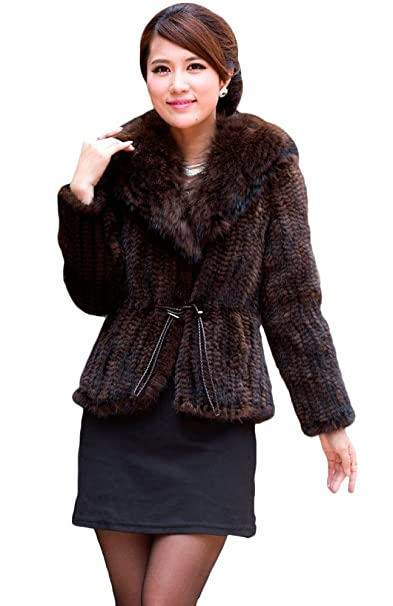 Amazon.com: Queenshiny mujer 100% Visón chamarra de piel ...