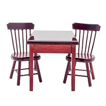 odoria 1 12 miniatur mobel braun esstisch mit 2 stuhlen set holz fur puppenhaus mobel