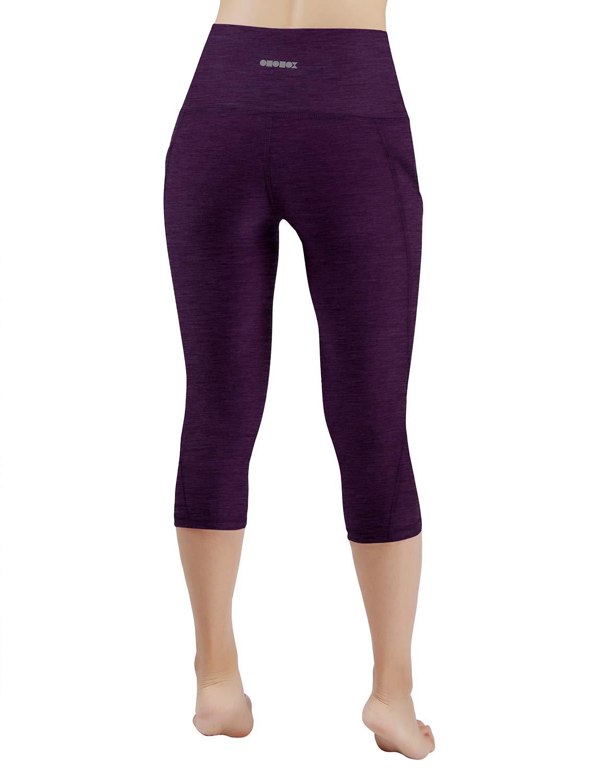 ODODOS High Waist Out Pocket Yoga Capris Pants Tummy Control Workout Running 4 Way Stretch Yoga Leggings,DeepPurple,X-Small by ODODOS (Image #3)