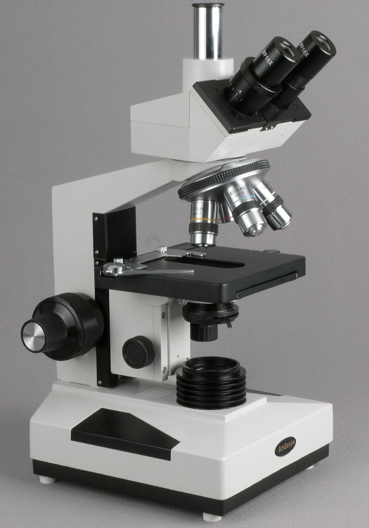 AmScope T400A-M-AC Digital Compound Trinocular Microscope, WF10x and WF16x Eyepieces, 40X-1600X Magnification, Brightfield, Halogen Illumination with Rheostat, Abbe Condenser, Double-Layer Mechanical Stage, Sliding Head, High-Resolution Optics, Includes 1