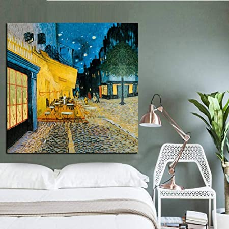 Zhangfbh Lienzo De Pintura Night Street Cafe Terraza Pintura