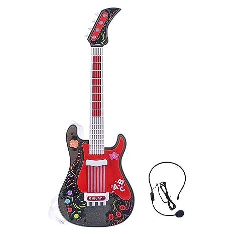 MRKE Guitarra Electrica Niños con Microfono Rock Juguete de Instrumentos Musicales para Infantil Niño y Niña