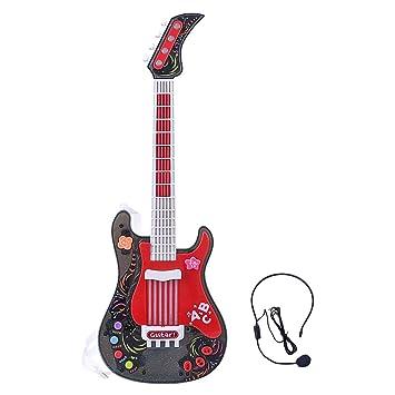 MRKE Guitarra Electrica Niños con Microfono Rock Juguete de Instrumentos Musicales para Infantil Niño y Niña 3-8 Años