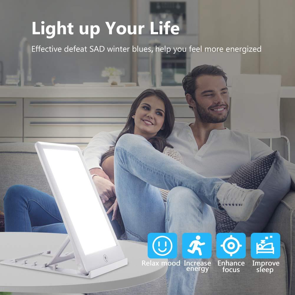 SAD Tageslichtlampe Lichttherapielampe,Maximal 32.000 Lux Tageslichtlichtbox,Komplett UV-freies LED-Spektrum,3 Einstellbare Helligkeitsstufen,Touch Control f/ür Saisonale Affektive St/örungen