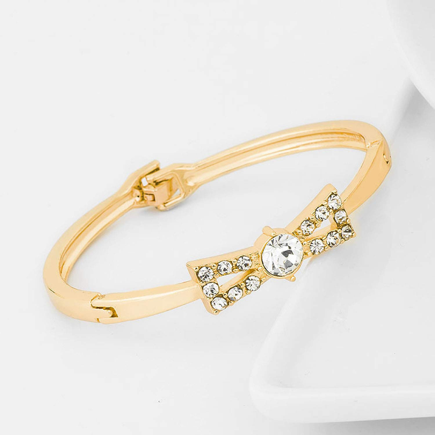 xiaoxiaoland Bowknot Shape Bangles Gold Color Crystal Bangle for Women Jewelry Female Bracelets Bangles