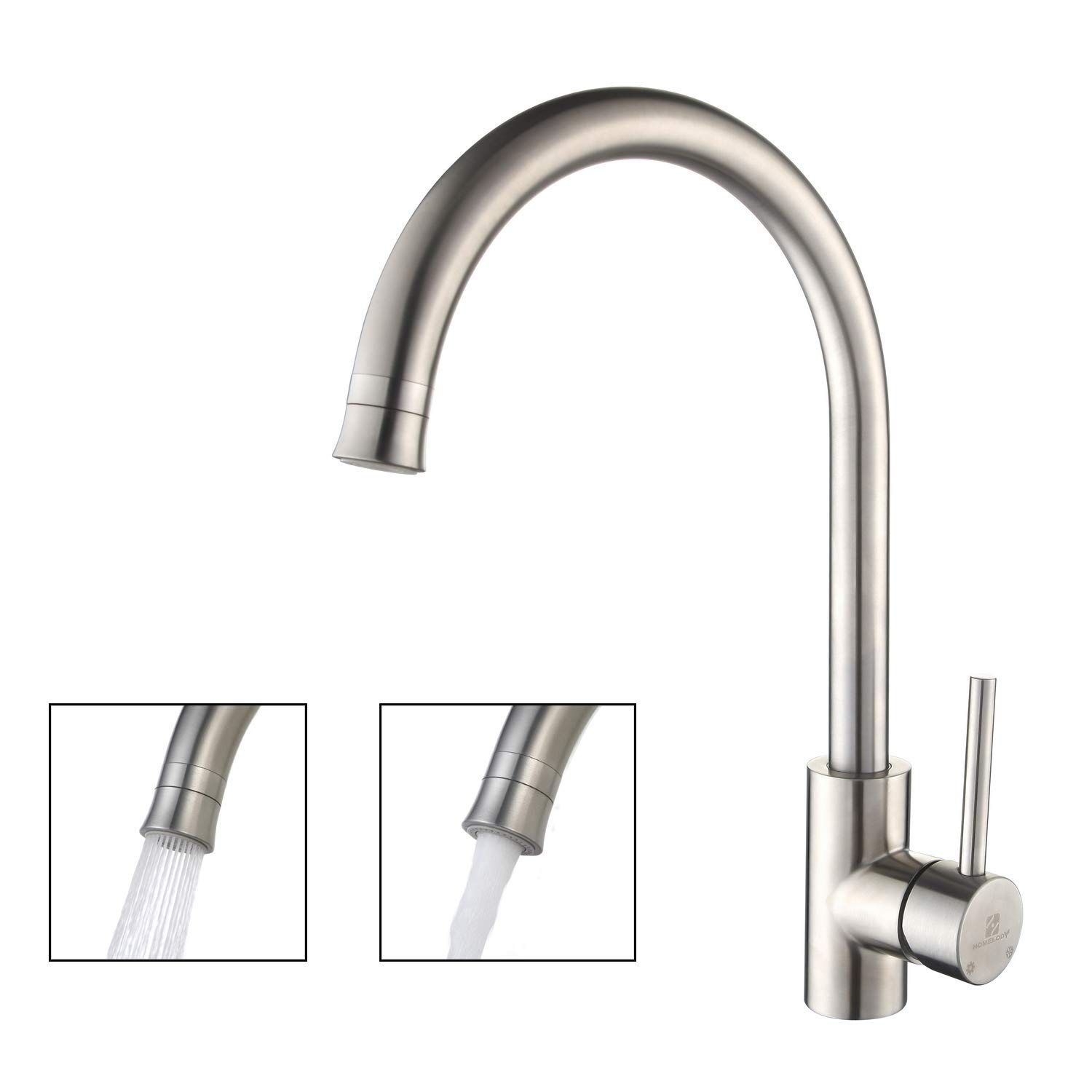 HOMELODY Kitchen Faucet 2 Functions 360 Swivel Kitchen Sink Faucet Single Handle Brushed Nickel Lead-Free Kitchen Mixers High Stainless Steel Faucet with Cold and Hot Water