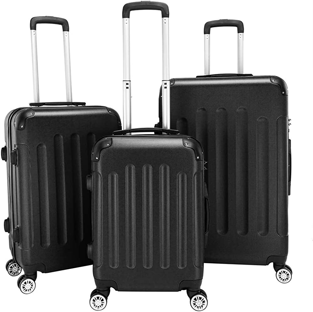 3-in-1 Portable ABS Trolley Case 20 24 28 Travel Luggage Suitcase Black