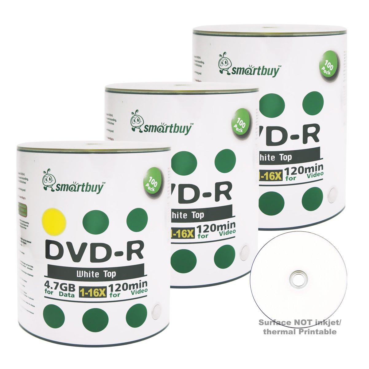 Smartbuy 300-disc 4.7gb/120min 16x DVD-R White Top Blank Data Recordable Media Disc