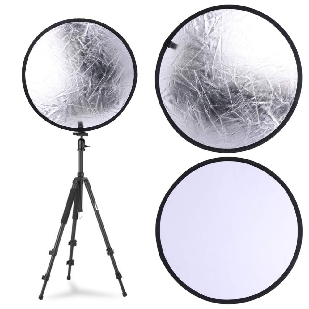 SAUJNN Silver//White 2 in 1 60cm Portable Round Light Mulit Collapsible Disc Photography Reflector for Studio with Carrying Bag