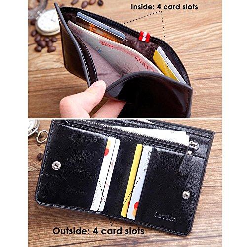 Vertikale PU Leder Bifold Brieftasche für Herren, slim RFID Geldbörse dünn Kreditkarte Holder kurz Reißverschluss Wallet grau Schwarz