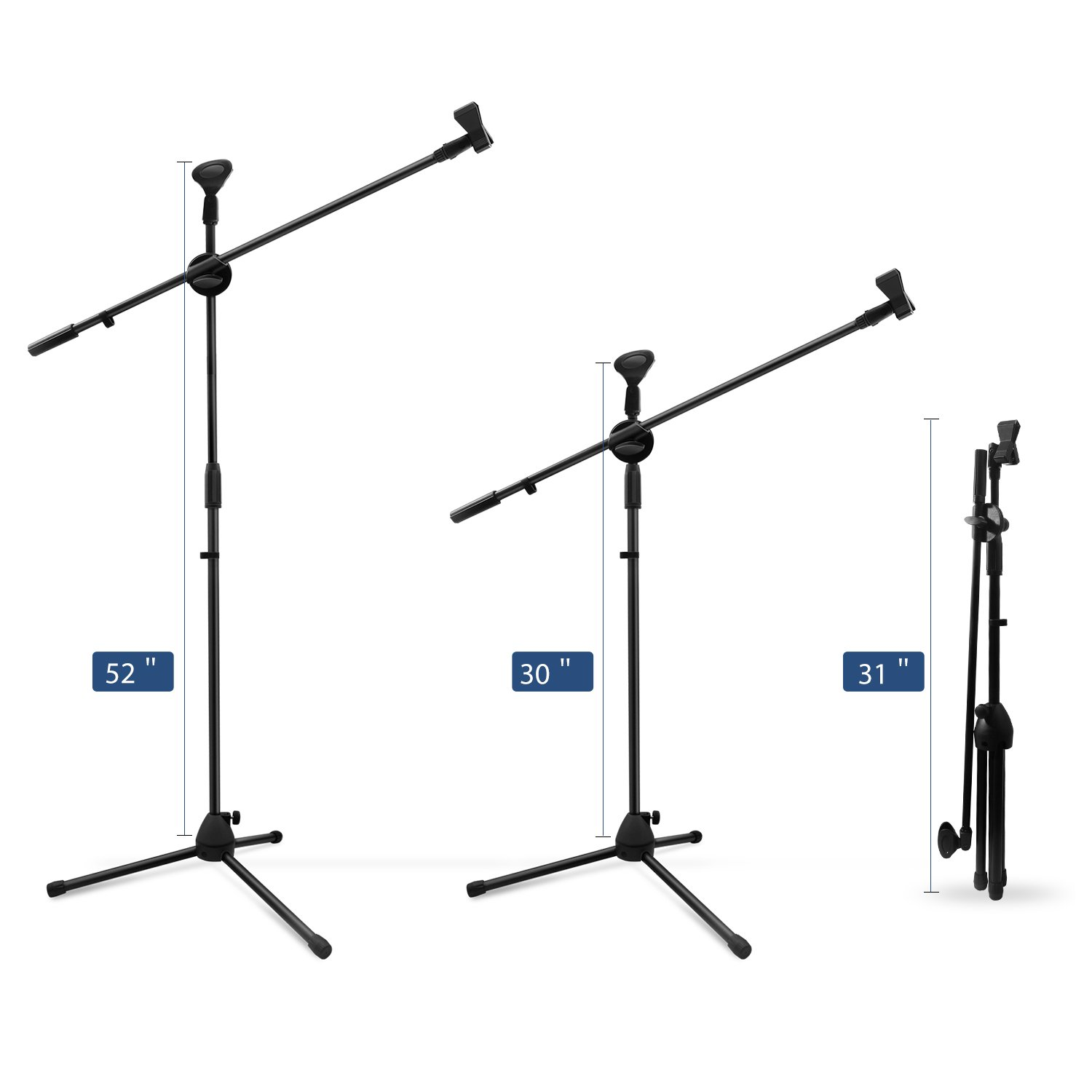 Microphone Stand, Ohuhu Tripod Boom Mic Stands with 2 Mic Clip Holders, Adjustable, Collapsible, Black by Ohuhu (Image #3)