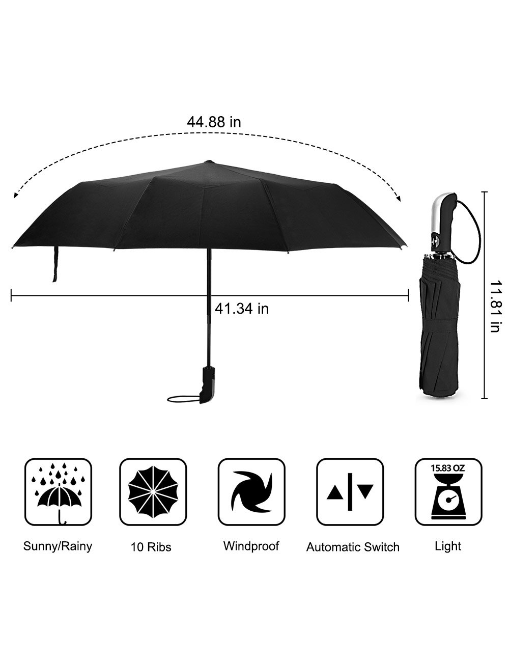 Beownwear Travel Umbrella Windproof Folding Automatic Umbrellas 10 Ribs(Black) by Beownwear (Image #2)