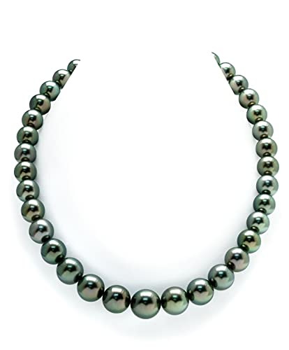 0069a34b2 Amazon.com: THE PEARL SOURCE 14K Gold 10-13mm Round Genuine Peacock  Tahitian South Sea Cultured Pearl Necklace in 17