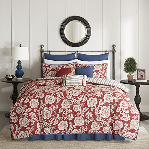 Madison Park Lucy Duvet Cover Queen Size - Red, Navy, Reversible Floral, Stripes Duvet Cover Set - 9 Piece - Cotton Twill, Cotton Poly Blend Reverse Light Weight Bed Comforter Covers