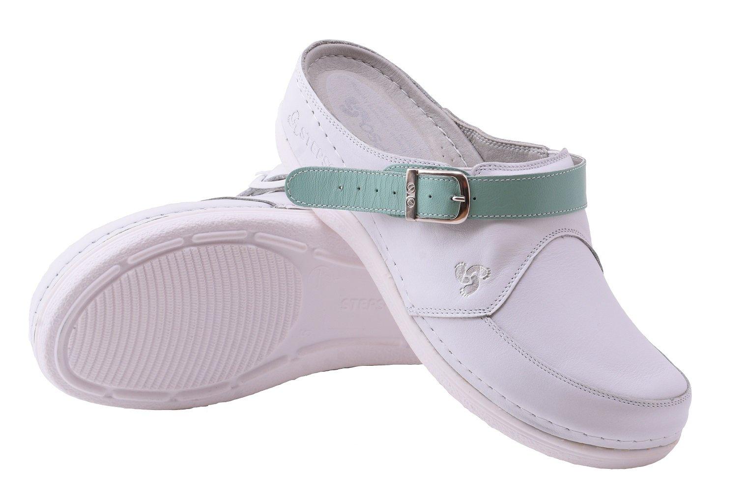 STEPSO Clogs Women's White Leather Handmade Lightweight Professional Comfort Nursing