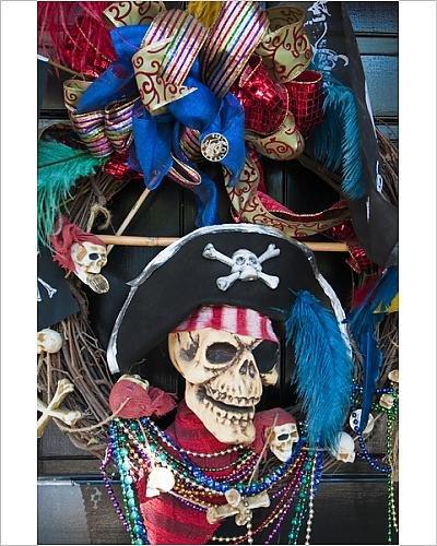Gasparilla Pirate Festival (Photographic Print of USA, Florida, Tampa. Gasparilla Festival wreath)