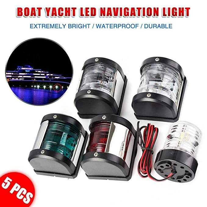 Set of 5 LED Navigation Light Port,Starboard,Stern /& Masthead//360 Anchor Light