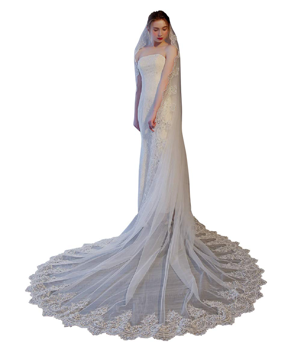 Adonis Pigou Cathedral Wedding Veil Lace Layer Bridal Veils with Comb Ivory