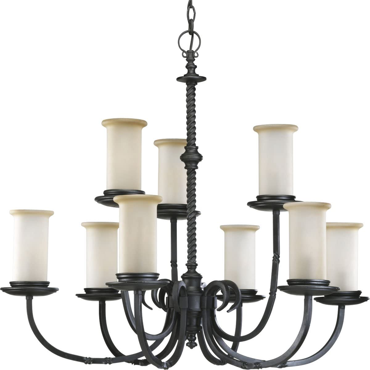 Progress Lighting P4179-80 9-Light Two-Tier Santiago Chandelier, 32 x 32 x 29 , Forged Black