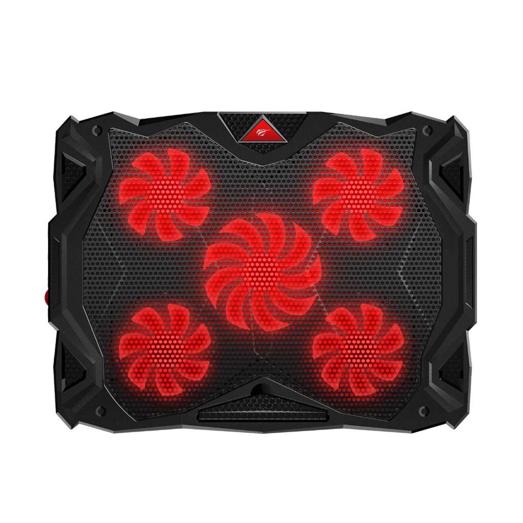 Gybai New Fan Cooling Mute Notebook Cooling Pad LED USB Cooling Notebook with 5 Fans Laptop Noiseless Laptop Fan 14''-17''