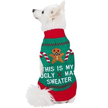 Ugly Dog Christmas Sweaters.Alisister Dog Ugly Christmas Sweater Knit Large Pet Pug Shih Tzu Birthday Bandana Bib Reindeer Clothes Apparel Holiday