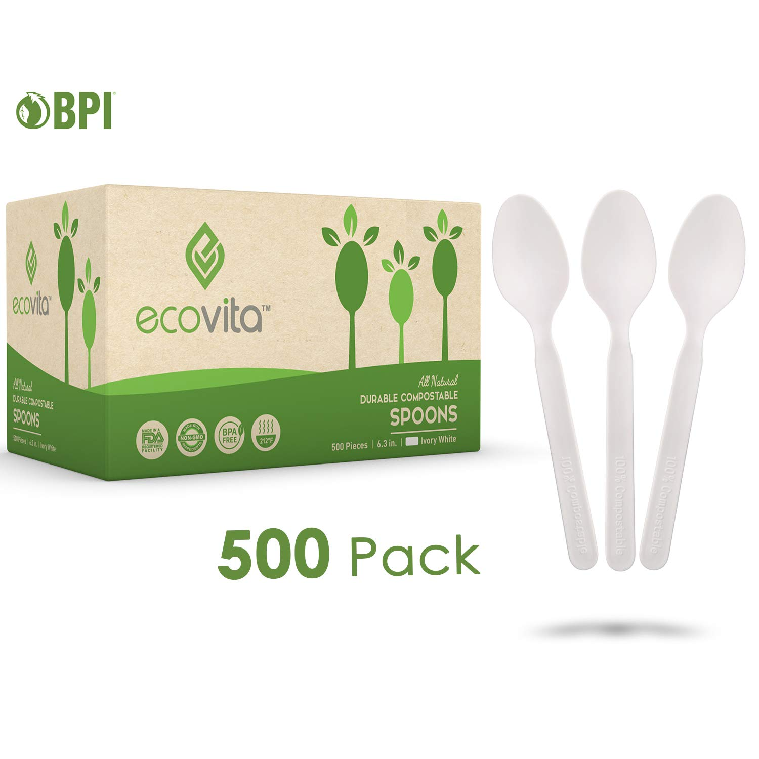 100% Compostable Spoons - 500 Large Disposable Utensils (6.5 in.) Bulk Size Eco Friendly Durable and Heat Resistant Plastic Spoons Alternative with Convenient Tray by Ecovita by Ecovita