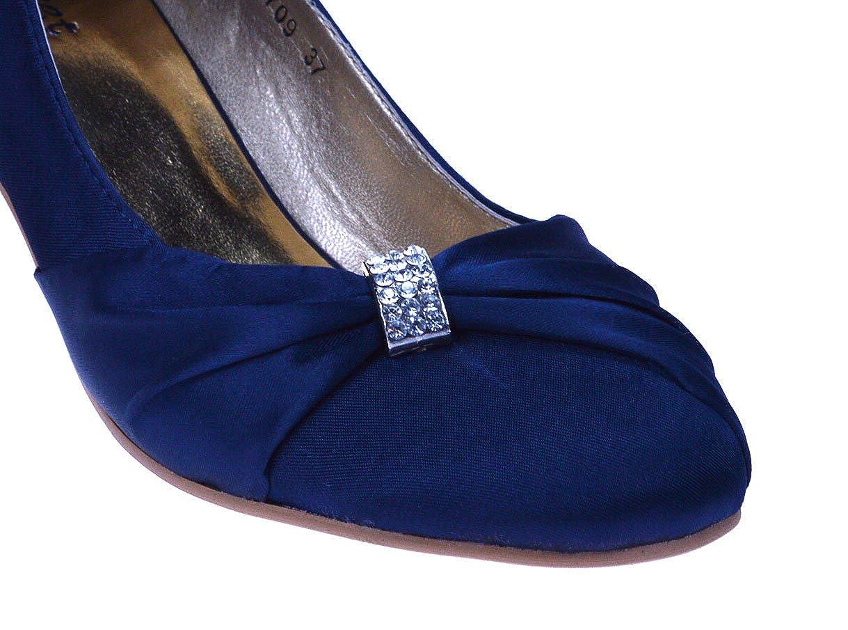 Chic Feet Damen Damen Damen Navy Blau Satin Hochzeit Eingeladen Bridal Prom Abend Court Niedrig Ferse Schuhe - 29bd0f