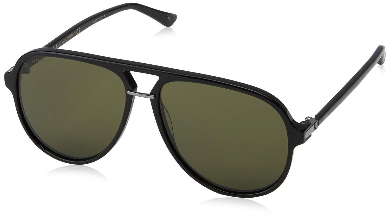 Gucci Herren Sonnenbrille GG0009S 001, Schwarz (Black/Green), 59