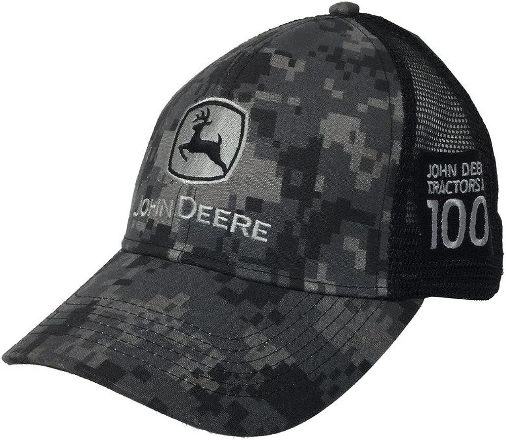 John Deere Mens 100 Year Anniversary Digital Camo Hat-Black