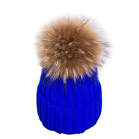 42b5fdfe391c8 Image Unavailable. Women Ladies Winter Large Fur Pom Ball 15Cm Ball Knit  Beanie Ski Cap Bobble Hat Sapphire