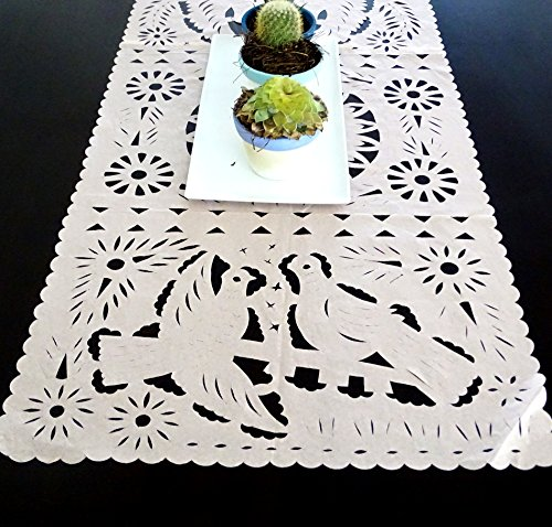 Mexican Wedding Decoration, Peach Table Runner, Papel Picado, Fiesta Party, Mexican Style Ceremony, Tissue Paper, Hand-crafted, Birthday Party Kids, TR20