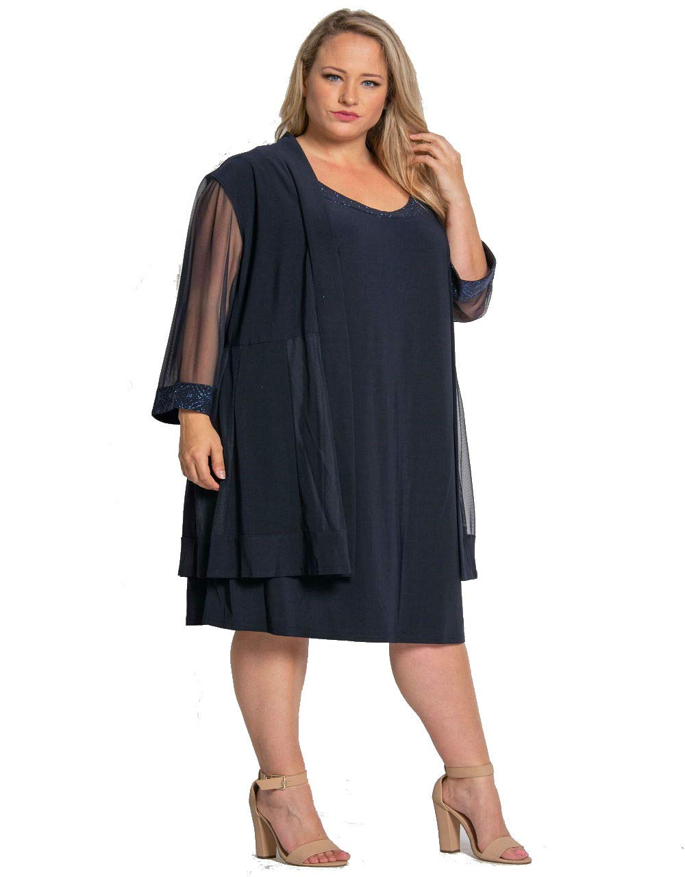 R&M Richards Short Mother of Bride Plus Size Dress Navy