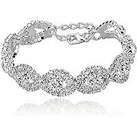 LnLyin Fashion New Bracelet Diamond Flash Crystal Women Bracelet,Silver