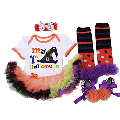ce55a46ee WINZIK My 1st Halloween Baby Girl Outfits Short Sleeve Romper Tutu Dress  Party Costume 4pcs Clothes Set