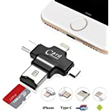 USB Card Reader, Hizek 4 in 1 Memory Card Reader USB 2.0 Multi Function USB Connector Support TF Cards for iphone/Samsung/Huawei/HTC/Nexus/LG/Sony/Windows(Black)