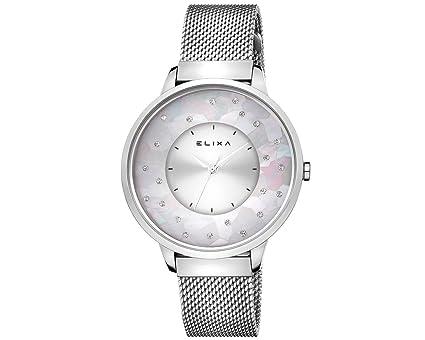 Elixa e117-l473 mujeres reloj de cristal acentuado con banda de malla de plata madre de perla Dial de alrededor: Elixa: Amazon.es: Relojes