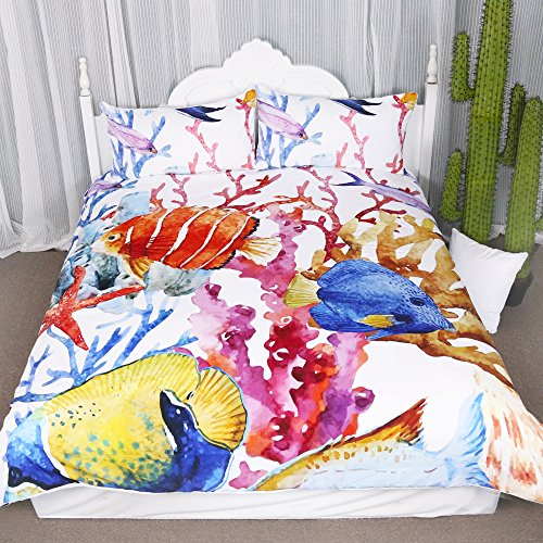 Fancy Sea Life Duvet Cover Set 3 Pieces Tropical Fish in Coral Sea Bedspread Cover Marine Creatures Bedding Set (Twin) (Duvet Tropical Set)
