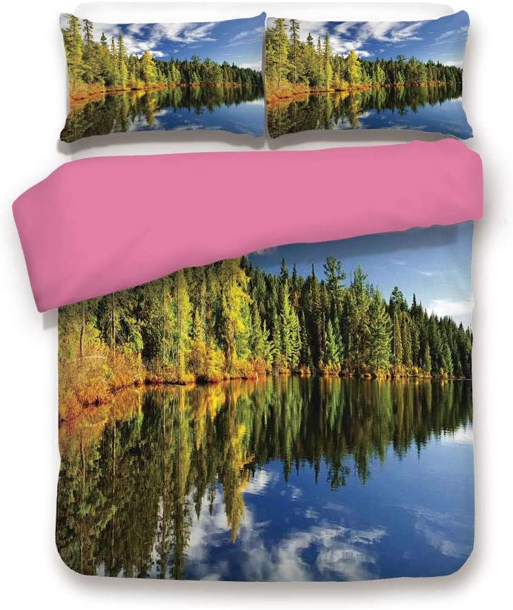 LCGGDB California King Size 3D Printed Bedding Set,Elegant Forest Reflecting on Calm Lake Shore at North Canada Universe Art Print Decorative 3 Piece Bedding Set with 1 Pillow Sham,Green Blue White