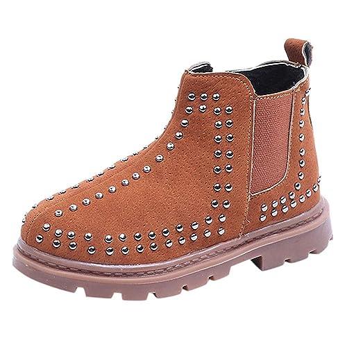 8f559a69b Botas de Nieve Bajos para Niños Niñas Invierno PAOLIAN Zapatos de Piel de Remache  Botines Militares