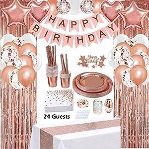 Best Epic Trends 61YTKjcM4yL._SS300_ Rose Gold Birthday Party Decorations, Rose Gold Party Decorations Set for Girls Or Women, Happy Birthday Banner…