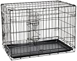 "Paws & Pals 30"" Large Dog Crate, Double-Doors Folding Metal w/ Divider & Tray   30"" x 18"" x 20""   2016 Newly Designed Model"